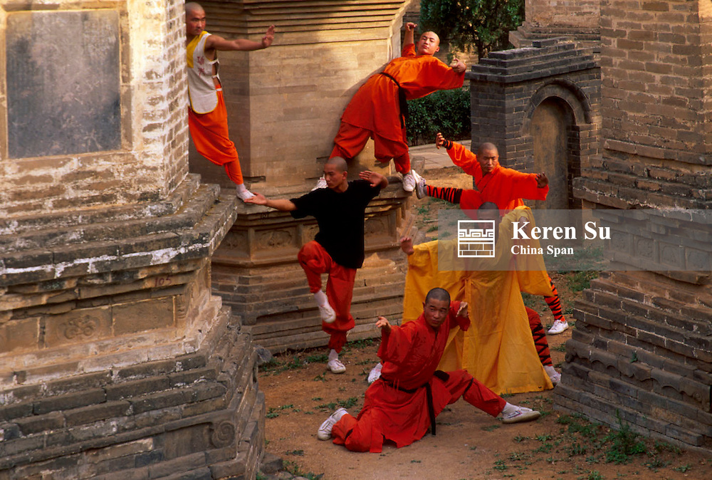 Monks praticing martial arts at Forest of Dagobas at Shaoling Monastery, Songshan, Henan Province, China