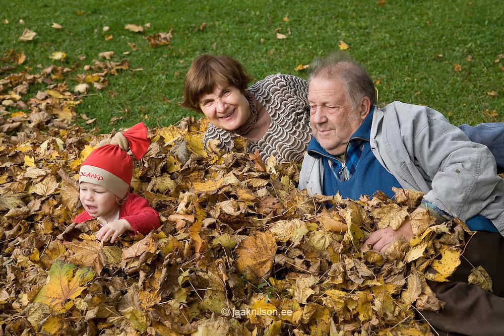 Happy Elderly Seniors Grandparents with Kid Girl in Autumn Leaves
