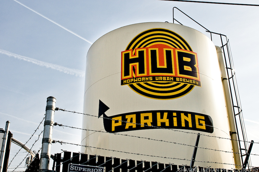 The beer process starts here, the HUB silo which contains grain.