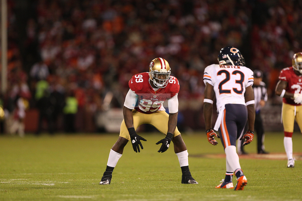 San Francisco 49ers linebacker Aldon Smith (99) in action against the Chicago Bears, during an NFL game on Monday Nov. 19, 2012 in San Francisco, CA.  (photo by Jed Jacobsohn)