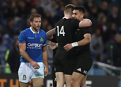 November 24, 2018 - Rome, Italy - Italy v New Zealand All Blacks - Rugby Cattolica Test Match.New Zealands Jordie Barrett celebrates with New Zealands Rieko Ioane at Olimpico Stadium in Rome, Italy on November 24, 2018. (Credit Image: © Matteo Ciambelli/NurPhoto via ZUMA Press)