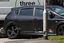 © Licensed to London News Pictures. 28/05/2018. Stockport, UK. The scene at The Salisbury Club in the Brinnington area of Stockport, Greater Manchester, where a car collided with pedestrians late last night, killing one man.  A murder investigation has been launched. Police later recovered a black Audi A4 which fled the scene. Photo credit: Joel Goodman/LNP
