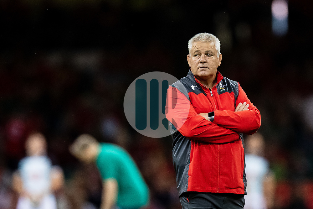 Head Coach Warren Gatland of Wales during the pre match warm up<br /> <br /> Photographer Simon King/Replay Images<br /> <br /> Friendly - Wales v Ireland - Saturday 31st August 2019 - Principality Stadium - Cardiff<br /> <br /> World Copyright © Replay Images . All rights reserved. info@replayimages.co.uk - http://replayimages.co.uk
