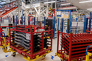 CASSINO, ITALY - NOVEMBER 24: Employee at work in the Body Shop where they assemble the Alfa Romeo Giulia and Stelvio in the Cassino Assembly Plant FCA Group in the Cassino Assembly Plant FCA Group on November 24, 2016 in Cassino, Italy. This is the most highly-automated area of the plant with nearly 1300 robots installed.
