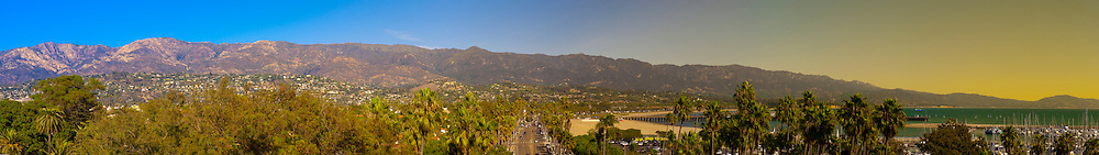 Panoramic view of the city and harbor, Santa Barbara, California USA.