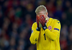 CARDIFF, WALES - Friday, November 16, 2018: Denmark's goalkeeper Kasper Schmeichel looks dejected as Wales score a goal during the UEFA Nations League Group Stage League B Group 4 match between Wales and Denmark at the Cardiff City Stadium. Denmark won 2-1.(Pic by David Rawcliffe/Propaganda)