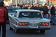 During summer from June to Septemper, every first Friday of the month is Vintage Car Cruising Night. Hundreds of classic American cars cruise around downtown Helsinki and meet at special places to have a good time, here at Kauppatori (Market Square).  1960 Ford Thunderbird.