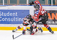 2020-01-11 | Umeå, Sweden: Collission in AllEttan during the game  between Teg and Piteå at A3 Arena ( Photo by: Michael Lundström | Swe Press Photo )<br /> <br /> Keywords: Umeå, Hockey, AllEttan, A3 Arena, Teg, Piteå, mltp200111