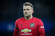 Manchester United defender Luke Shaw (23) during the Premier League match between Chelsea and Manchester United at Stamford Bridge, London, England on 17 February 2020.