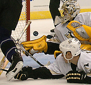 11-1-2006--Los Angeles CA--KingsAlexander Frolov scores a goal in the second period against the Pittsburgh Penguins goalie Marc-Andre Fleury. photo by John McCoy/staff photographer LA Daily News