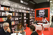 Buchmesse Frankfurt, biggest book fair in the World. Fake book shelves and a photo of noble prize winner Orhan Pamuk at Random House Mondadori.