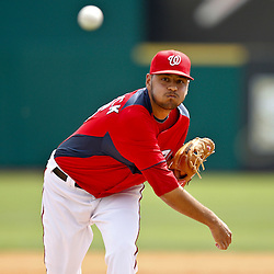 March 4, 2011; Viera, FL, USA; Washington Nationals starting pitcher Brian Broderick (55) during a spring training exhibition game against the Atlanta Braves at Space Coast Stadium.  Mandatory Credit: Derick E. Hingle
