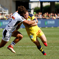 Camille Lopez of Clermont and Paul Abadie of Agen during Top 14 match between Clermont and Agen on August 25, 2018 in Perpignan, France. (Photo by Romain Biard/Icon Sport)
