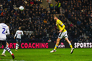 Patrick Bamford of Leeds United (9) scores a goal to make the score 0-2 during the EFL Sky Bet Championship match between Preston North End and Leeds United at Deepdale, Preston, England on 9 April 2019.