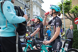 Laura Massey (GBR) and Abi van Twisk (GBR) of Drops Cycling Team rehydrates after finishing Stage 3 of the Emakumeen Bira - a 77.6 km road race, starting and finishing in Antzuola on May 19, 2017, in Basque Country, Spain. (Photo by Balint Hamvas/Velofocus)