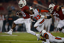 PALO ALTO, CA - NOVEMBER 10:  Running back Bryce Love #20 of the Stanford Cardinal rushes up field for a touchdown against the Oregon State Beavers during the first quarter at Stanford Stadium on November 10, 2018 in Palo Alto, California. (Photo by Jason O. Watson/Getty Images) *** Local Caption *** Bryce Love