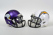 A view of Minnesota Vikings and Los Angeles Chargers helmets on Thursday, November 2, 2017. (Kirby Lee via AP)