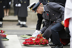 © Licensed to London News Pictures. 08/11/2015. London, UK. Prince William laying a wreath on the Cenotaph during Remembrance Sunday ceremony in Whitehall, London on Sunday, 8 November 2015. Photo credit: Tolga Akmen/LNP