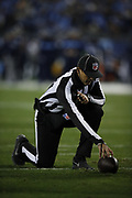 An NFL official in action during the Tennessee Titans week 14 regular season NFL football game against the Jacksonville Jaguars on Thursday, Dec. 6, 2018 in Nashville, Tenn. The Titans won the game 30-9. (©Paul Anthony Spinelli)