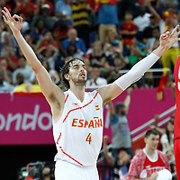 10 August 2012: Spain Pau Gasol celebrates a three points shot made during 67-59 Team Spain victory over Team Russia, during the men's basketball semi-finals, at the North Greenwich Arena, in London, Great Britain.