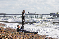 November 3, 2018 - Brighton, East Sussex, United Kingdom - Brighton, UK. Members of the Brighton Surf Life Saving Club take part in their weekly training session in the Brighton and Hove sea as powerful waves are hitting the shore. (Credit Image: © Hugo Michiels/London News Pictures via ZUMA Wire)