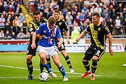 Carlisle United Midfielder Antony Sweeney trying to find a way through the defence during the Sky Bet League 2 match between Carlisle United and Morecambe at Brunton Park, Carlisle, England on 10 October 2015. Photo by Craig McAllister.