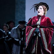 September 23, 2015 - New York, NY : Sondra Radvanovsky, foreground, performs as Anna Bolena in a dress rehearsal for Gaetano Donizetti's 'Anne Bolena' at the Metropolitan Opera at Lincoln Center on Wednesday. CREDIT: Karsten Moran for The New York Times