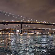 Brooklyn Bridge by night during the renovation.