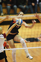 Virginia Cavaliers M Katie Oakes (17).  The Virginia Cavaliers Volleyball Team fell to the Florida State Seminoles three games to none on October 14, 2006 at Memorial Gymnasium in Charlottesville, VA...