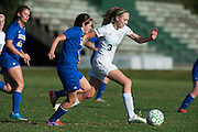 Rice's Saige Alpeter (3) runs down the field with the ball during the girls soccer game between the Milton Yellowjackets and the Rice Green Knights at Rice Memorial High School on Saturday afternoon October 3, 2015 in South Burlington. (BRIAN JENKINS/ for the FREE PRESS)