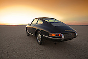 Lots of Room to Roam for a Slate Gray 1966 Porsche 911, Dry Lake Bed in the Mojave Desert, California, American Southwest