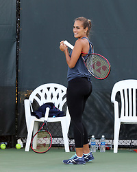 March 23, 2018 - Key Biscayne, Florida, United States Of America - KEY BISCAYNE, FL - MARCH 23: (EXCLUSIVE COVERAGE) Monica Puig on the practice court on day 5 of the Miami Open at Crandon Park Tennis Center on March 23, 2018 in Key Biscayne, Florida. ...People:  Monica Puig. (Credit Image: © SMG via ZUMA Wire)