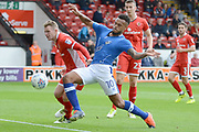 Oldham Athletic striker Aaron Amadi-Holloway (10) shoots at goal 0-0 during the EFL Sky Bet League 1 match between Walsall and Oldham Athletic at the Banks's Stadium, Walsall, England on 12 August 2017. Photo by Alan Franklin.