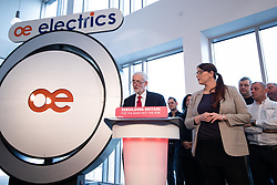 © Licensed to London News Pictures . 10/01/2019. Wakefield, UK. JEREMY CORBYN delivers a speech about Brexit at OE Electronics in Calder Park , West Yorkshire , in which he calls for a new General Election if Prime Minister Theresa May's Brexit plan is rejected by Parliament . Photo credit: Joel Goodman/LNP