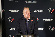Jamey Rootes, resident of the Houston Texans talks about Walking with the Wounded during the media day / training session / press conference for Houston Texans at London Irish Training Ground, Hazelwood Centre, United Kingdom on 1 November 2019.