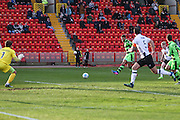 Forest Green Rovers Kaiyne Woolery(14) shoots at goal scores a goal 2-1 during the Vanarama National League match between Gateshead and Forest Green Rovers at Gateshead International Stadium, Gateshead, United Kingdom on 18 February 2017. Photo by Shane Healey.