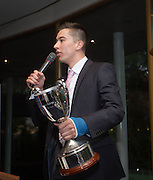 Cammy Kerry talks to the fans after being awarded the Isobel Sneddon trophy for Dundee FC young player of the year  - DSA Dundee FC player of the year dinner<br /> <br />  - &copy; David Young - www.davidyoungphoto.co.uk - email: davidyoungphoto@gmail.com