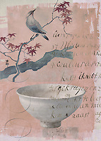 Bird on branch and Japanese Tea Bowl  in Autumn leaves.