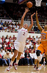 December 19, 2009; Stanford, CA, USA;  Stanford Cardinal forward/center Jayne Appel (2) shoots past Tennessee Lady Volunteers center Kelley Cain (52) during the first half at Maples Pavilion.  Stanford defeated Tennessee 67-52.