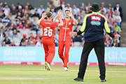 Lancashires Danny Lamb congratulates Lancashires Toby Lester on his catch during the Vitality T20 Blast North Group match between Lancashire Lightning and Durham Jets at the Emirates, Old Trafford, Manchester, United Kingdom on 7 August 2018.