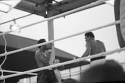 Ali vs Lewis Fight, Croke Park,Dublin..1972..19.07.1972..07.19.1972..19th July 1972..As part of his built up for a World Championship attempt against the current champion, 'Smokin' Joe Frazier,Muhammad Ali fought Al 'Blue' Lewis at Croke Park,Dublin,Ireland. Muhammad Ali won the fight with a TKO when the fight was stopped in the eleventh round...Both fighters are pictured as there is a pause in the action.