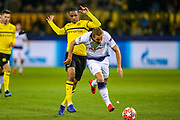 Borussia Dortmund defender Abdou Diallo (4) tackles Tottenham Hotspur forward Harry Kane (10) during the Champions League round of 16, leg 2 of 2 match between Borussia Dortmund and Tottenham Hotspur at Signal Iduna Park, Dortmund, Germany on 5 March 2019.