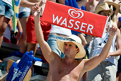 "Fan with sing ""Water"" at A1 Beach Volleyball Grand Slam tournament of Swatch FIVB World Tour 2010, bronze medal, on August 1, 2010 in Klagenfurt, Austria. (Photo by Matic Klansek Velej / Sportida)"