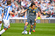 Shinji Okazaki of Leicester City (20) in action during the Premier League match between Huddersfield Town and Leicester City at the John Smiths Stadium, Huddersfield, England on 6 April 2019.