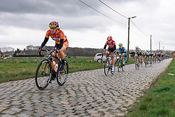 Demi de Jong speeds across the cobbles on the outskirts of Gooik - Pajot Hills Classic 2016, a 122km road race starting and finishing in Gooik, on March 30th, 2016 in Vlaams Brabant, Belgium.