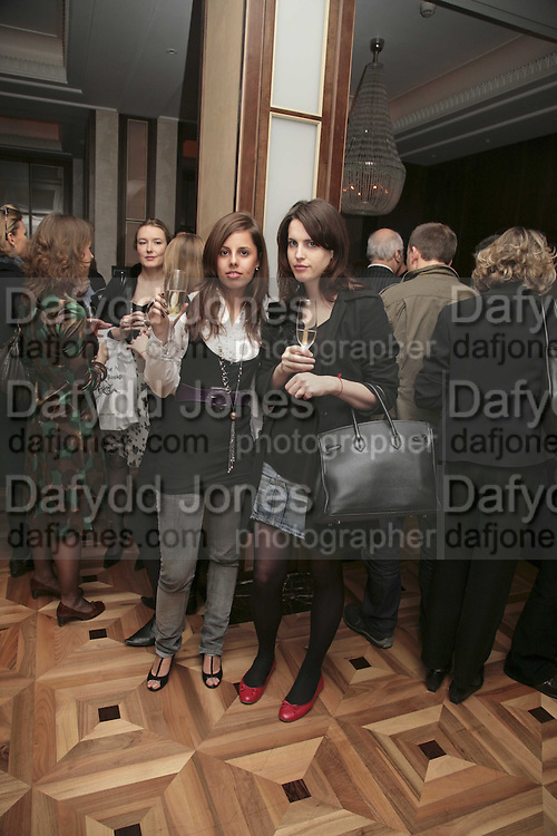 Victoria-Anne Bull and Holly White, Charles Finch and Weidenfeld and Nicolson host a party to celebrate the publication of 'Dancing Into Battle' by Nick Foulkes. The Westbury Hotel, Conduit St. London. 14 December 2006. ONE TIME USE ONLY - DO NOT ARCHIVE  © Copyright Photograph by Dafydd Jones 248 CLAPHAM PARK RD. LONDON SW90PZ.  Tel 020 7733 0108 www.dafjones.com