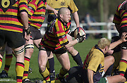 © Peter Spurrier/ Intersport-Images.Photo Peter Spurrier.15/03/2003.Sport - Rugby  National League Div 2 Henley v Harrogate.Johann Visser collects the ball and looks for support.