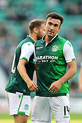 Stevie Mallan (#14) of Hibernian celebrates Hibernian's fourth goal (4-0) with Martin Boyle of Hibernian during the Europa League match between Hibernian and NSÍ Runavik at Easter Road, Edinburgh, Scotland on 12 July 2018. Picture by Craig Doyle.