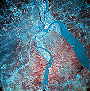 Infrared photograph of confluence of Missouri and Kansas rivers, 19 July 1993 during heavy flooding (North, upper right). Taken from NASA's ER-2 aircraft. NASA photograph.