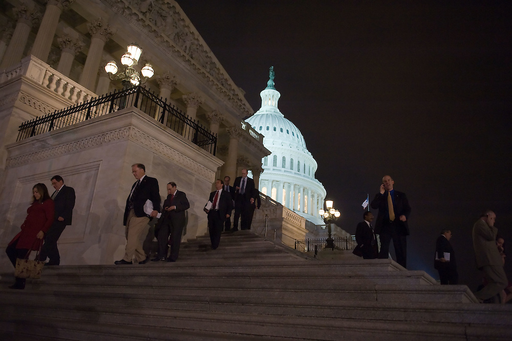 Members of Congress leave the Capitol Building after passing the Health Care Bill on Sunday, March 21, 2010 in Washington.